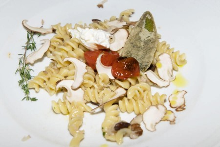 Fusilli with porcini mushrooms, cherry tomatoes and burrata