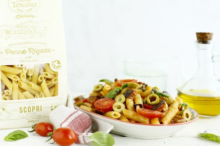 Penne with eggplant caponata