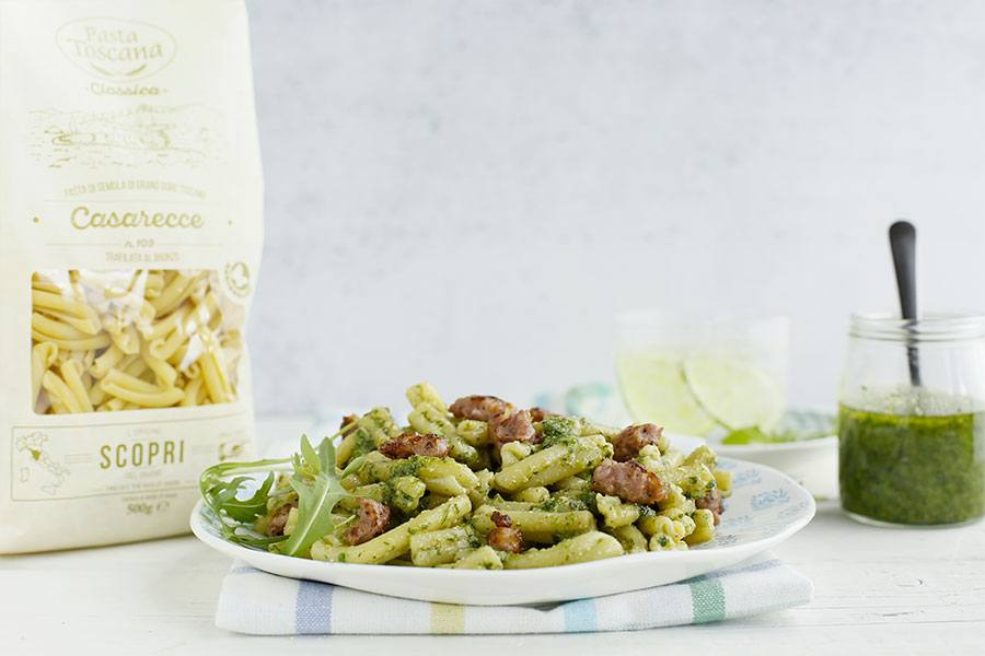 Casarecce with rocket salad pesto and Tuscan sausage