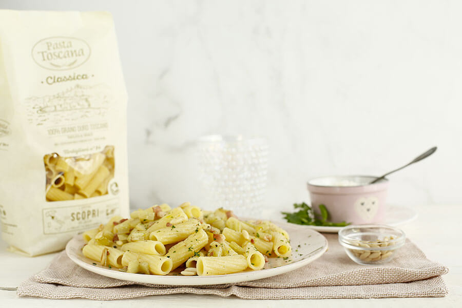 Tortiglioni with cardoon, pancetta and pine nuts