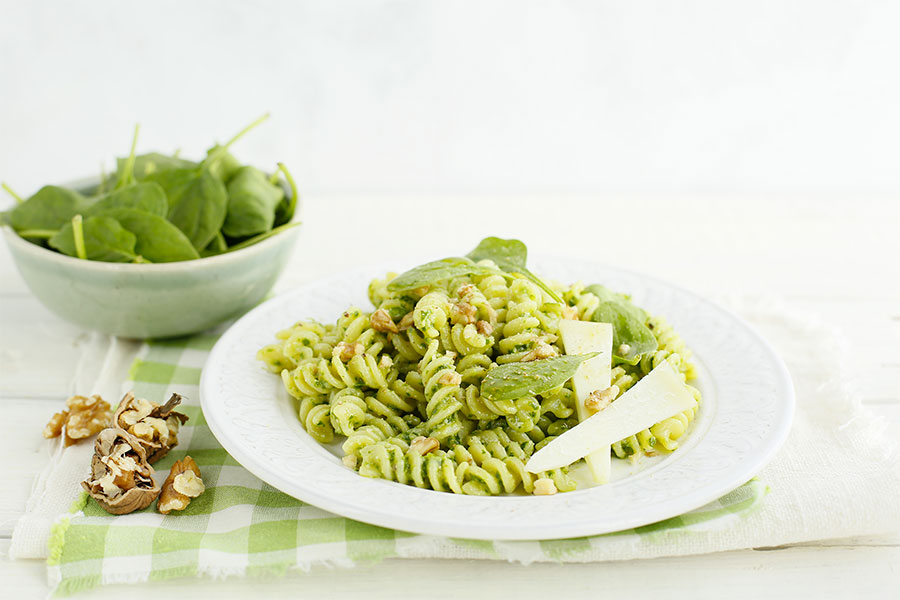 Fusilli with walnut and baby spinach pesto
