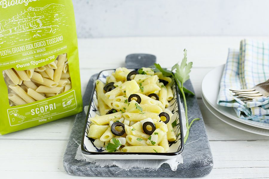Penne Rigate with codfish, potatoes and black olives