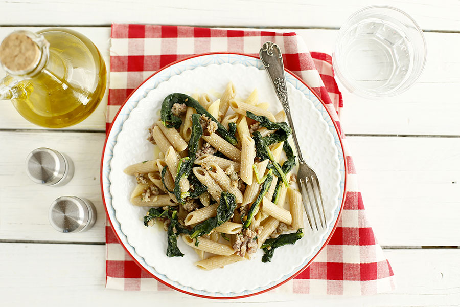 Penne rigate with Tuscan black cabbage and sausage