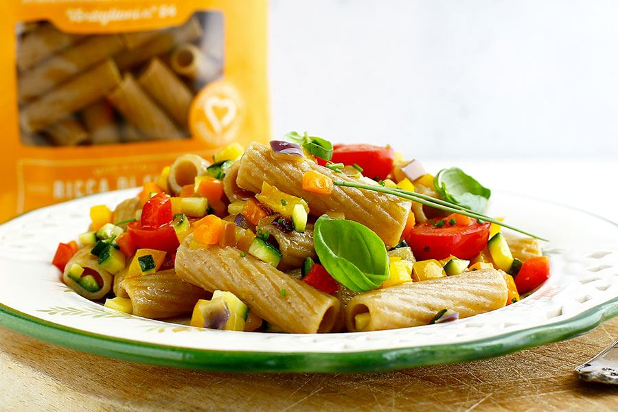 Tortiglioni with vegetable ragù sauce