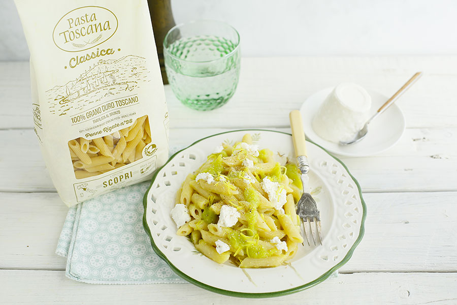 Penne with leek and ricotta cream